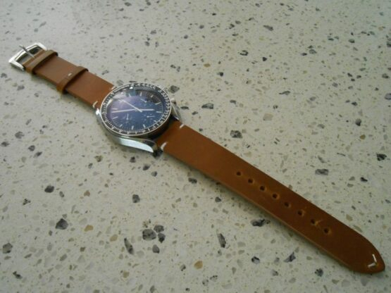 Calf Leather Tan Strap on Omega Speedmaster