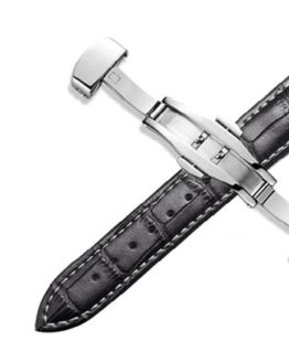 Maleny Leather Strap Black White Stitching