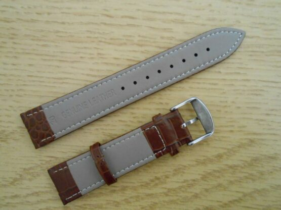 Alligator Patterned Brown Rear Showing Genuine Leather and Size