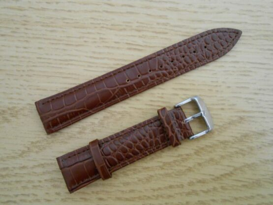 Alligator Patterned Brown Leather Watch Strap
