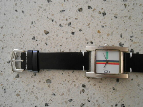 Black Calf Leather Strap with United Colours of Benetton buckle