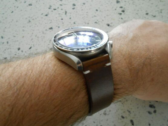 Calf Brown Leather Strap Actual photo on Speedmaster