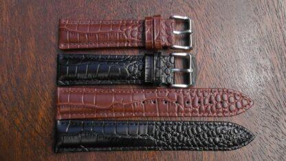 crocodile alligator pattern leather watch strap
