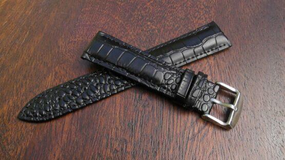 crocodile alligator black leather watch strap