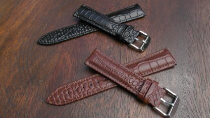 black and brown crocodile alligator leather watch band