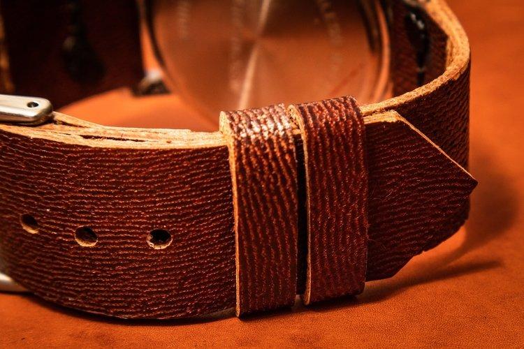Close up of Kangaroo watch strap showing grain