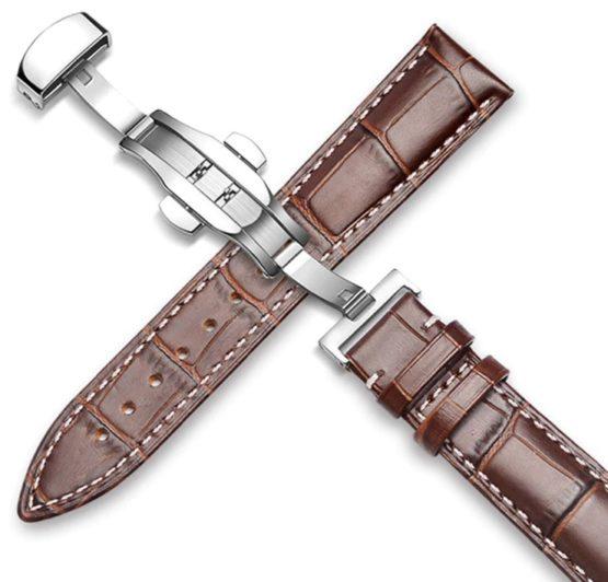 brown leather watch strap white stitching