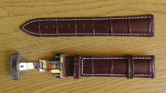 brown leather watch strap white stitching