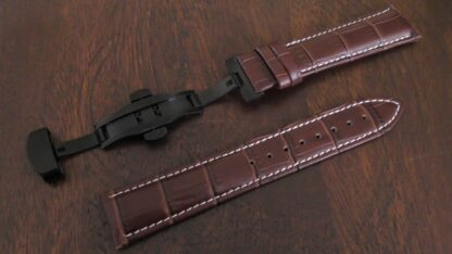 maleny deployant clasp leather watch band
