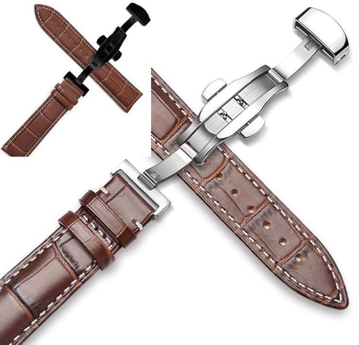 maleny brown with hwite stitching leather deployant strap for sale