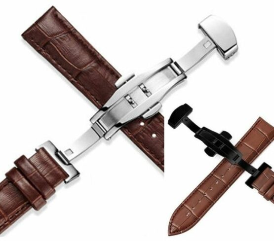 Montville leather watch band brown iwth silver or black deployant clasp