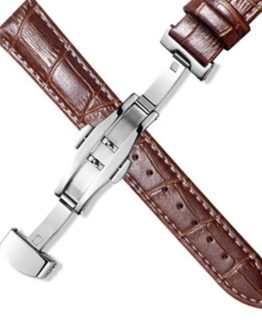 brown leather watch strap cream stitching