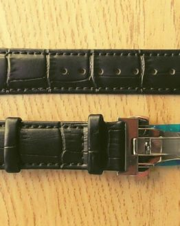 black leather watch strap deployant