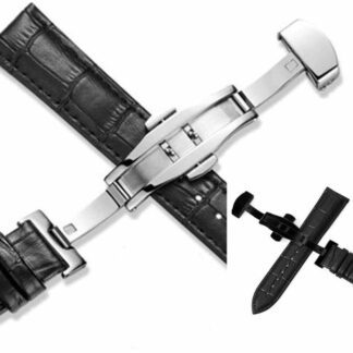 Maleny black leather watch strap choice of silver or black deployant