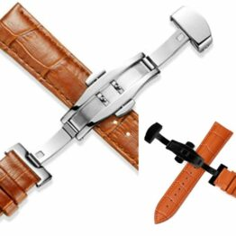 Montville tan leather deployant straps
