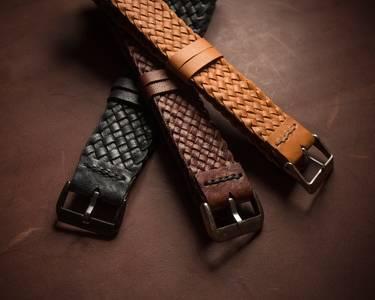 kangaroo leather braided watch strap