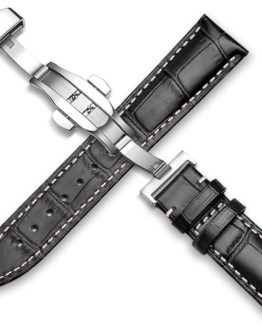 black leather watch strap white stitching