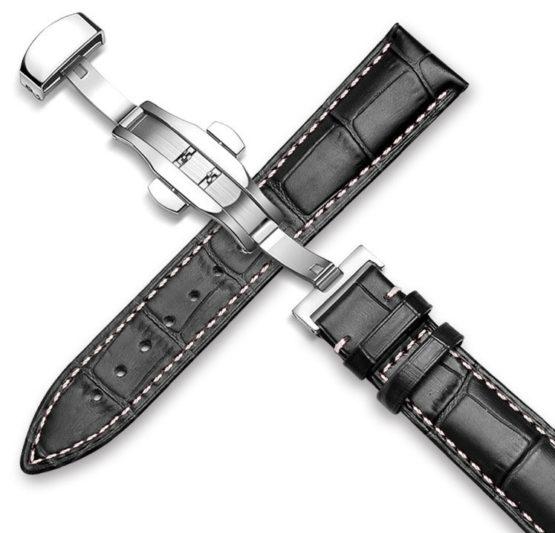 black leather watch strap white stitching