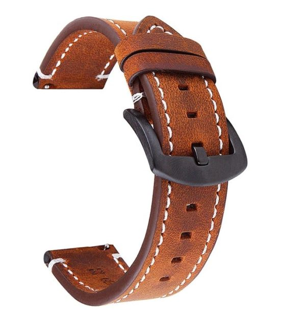 Mapleton brown leather watch strap with quick release spring bars