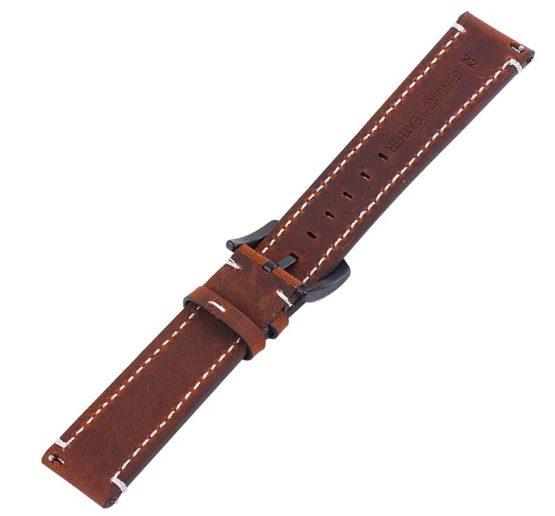 Mapleton brown leather watch strap