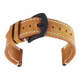 mapleton leather watch strap black buckle quick release spring bars
