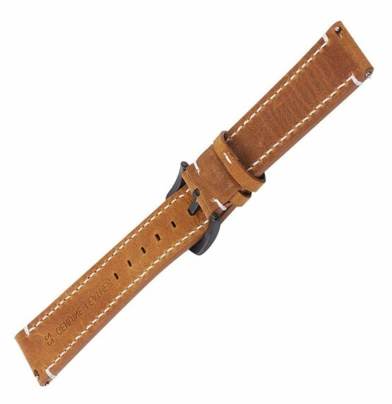 mapleton light brown leather watch strap white stitching