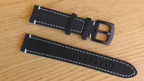 quick release watch strap black leather white stitching