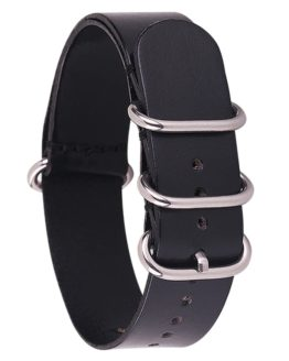 leather nato watch strap black