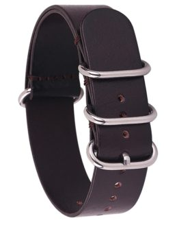 leather nato watch strap dark brown
