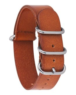nato leather watch strap tan colour