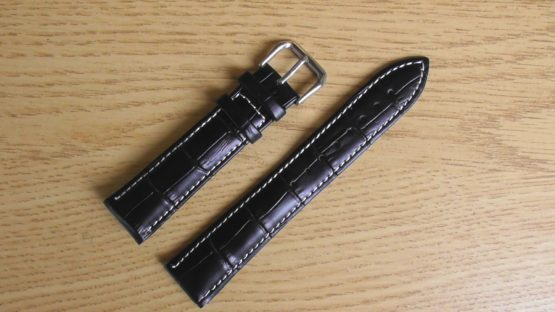 birtinta black leather white stitching watch strap australia