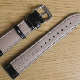 birtinya black with white stitching leather watch strap australian stock
