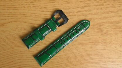 green leather watch strap