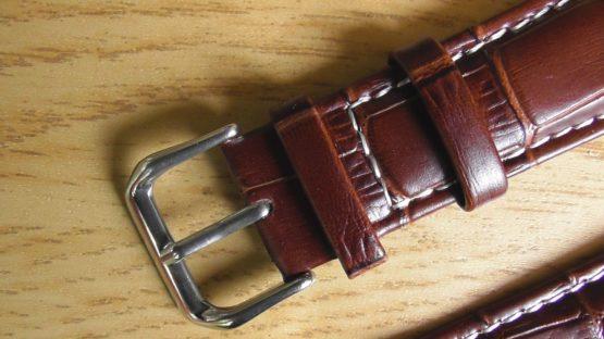 Birtinya Australia brown leather white stitching watch strap