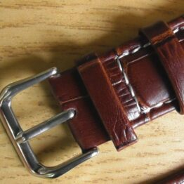 Birtinya Australia brown leather white stitching watch strap