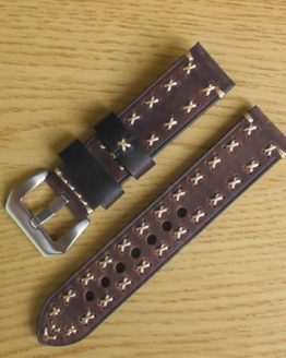hand stiched brown leather watch strap australia
