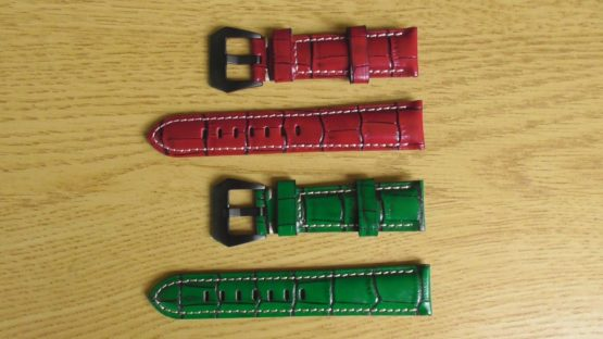 yamdina red and green leather straps
