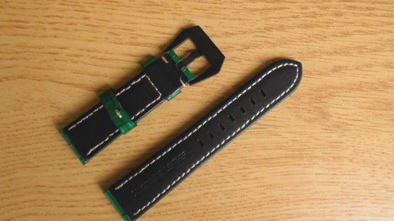 gloss green leather watch strap australia