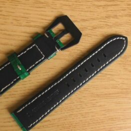 gloss green leather watch strap australia