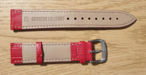 noosa australia red leather strap rear showing genuine leather stamp