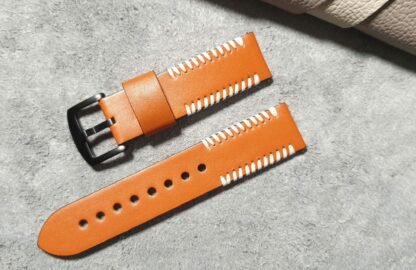 palmwoods leather strap front on top of leather hide
