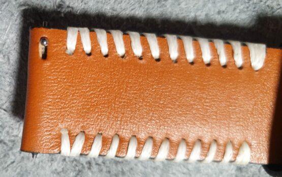 Palmwoods leather strap hand stiching close up