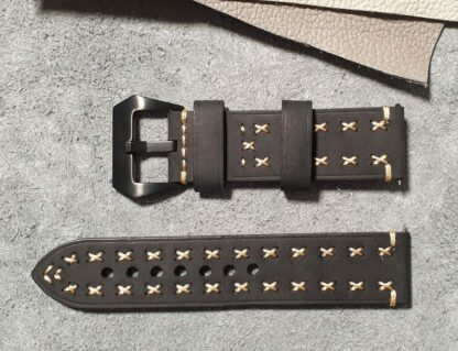 winton australia black hand stitched leather watch strap
