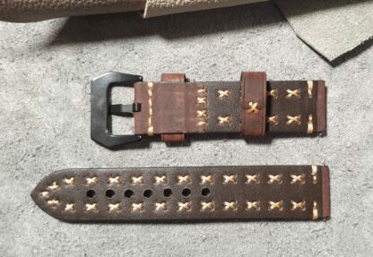 winton leather watch strap cross stiched