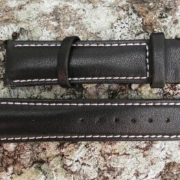 warana leather strap black with white stitching