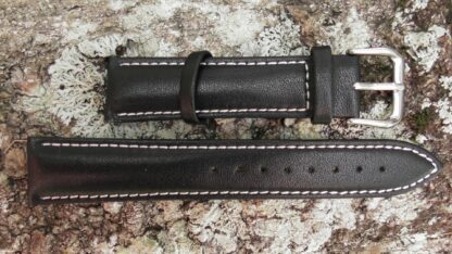 warana leather strap black with white stitching