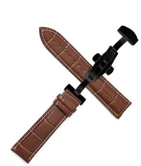 Maleney brown white stiching leather watch strap