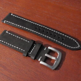 leather watch strap black with silver buckle
