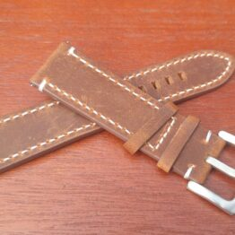 brown suede leather watch strap white stitching