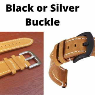 mapleton leather strap black or silver buckle